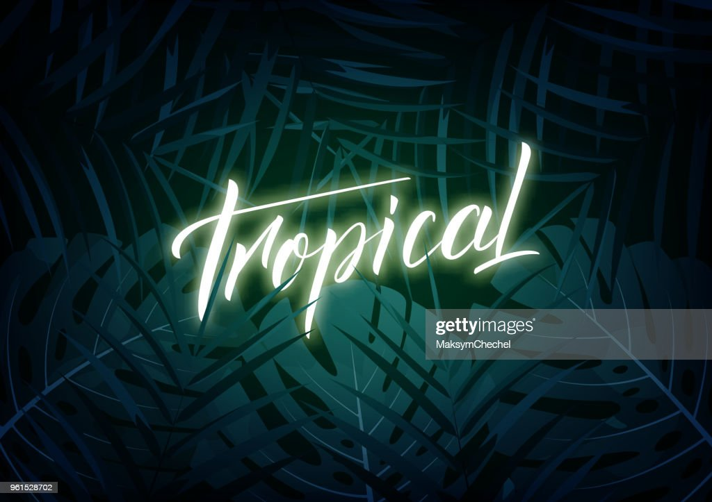 Tropical. Modern design layout with glowinglettering and tropic jungle leaves. Summer exotic background