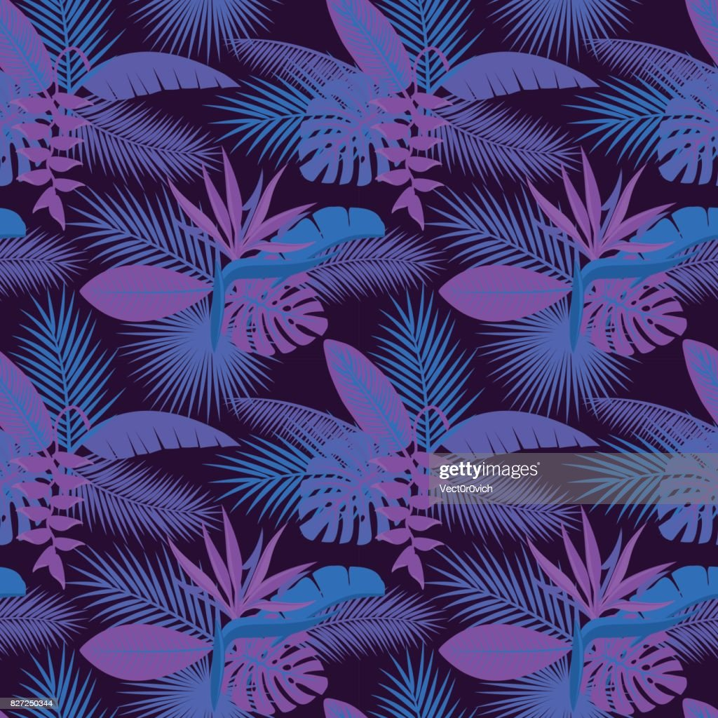 tropical night foliage plants  seamless pattern with palm banana monstera leaves, hanging heliconia flower, strelitzia