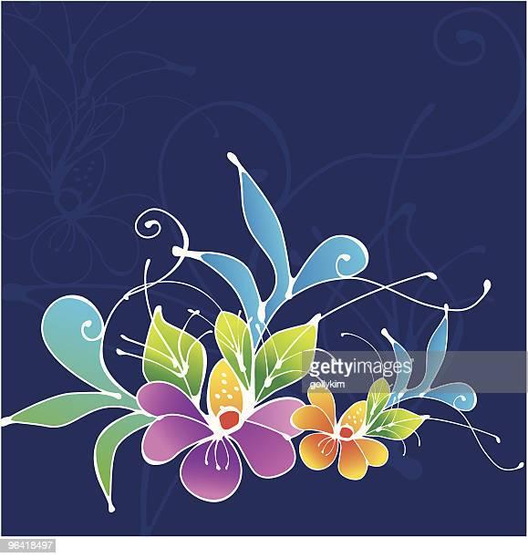 tropical orchid - batik stock illustrations