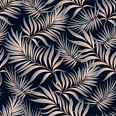 Tropical palm leaves, jungle . Vector floral pattern background.