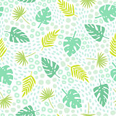 Tropical palm leaves seamless pattern.