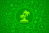 Tropical Palm Tree Island Environment Green Vector Icon Pattern