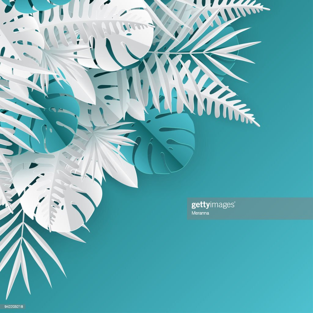 Tropical paper palm, monstera leaves frame. Summer tropical leaf. Origami exotic hawaiian jungle, summertime background. Paqper cut style