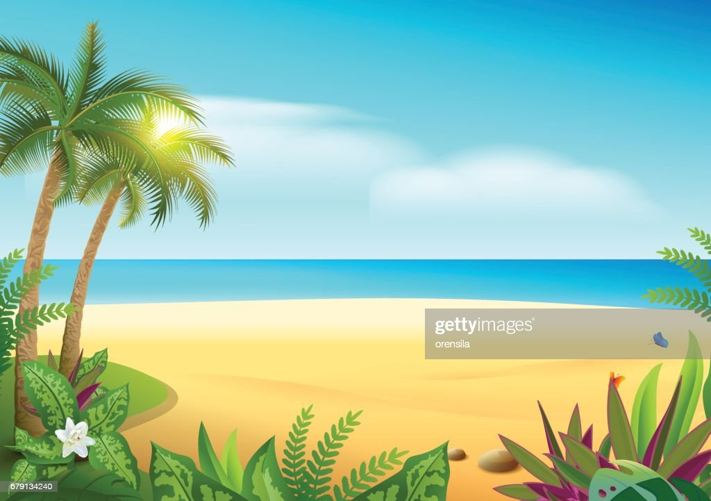 Tropical paradise island sandy beach, palm trees and sea