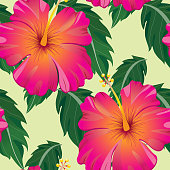 Tropical Pattern With Leaves and Flowers - Vector Illustration