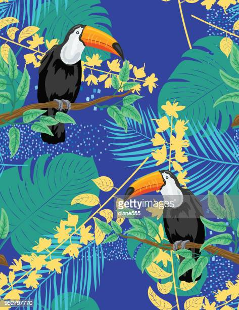 tropical plants and toucan seamless pattern - coconut leaf stock illustrations, clip art, cartoons, & icons