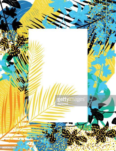 ilustrações, clipart, desenhos animados e ícones de modelo de plano de fundo de plantas tropicais - tropical