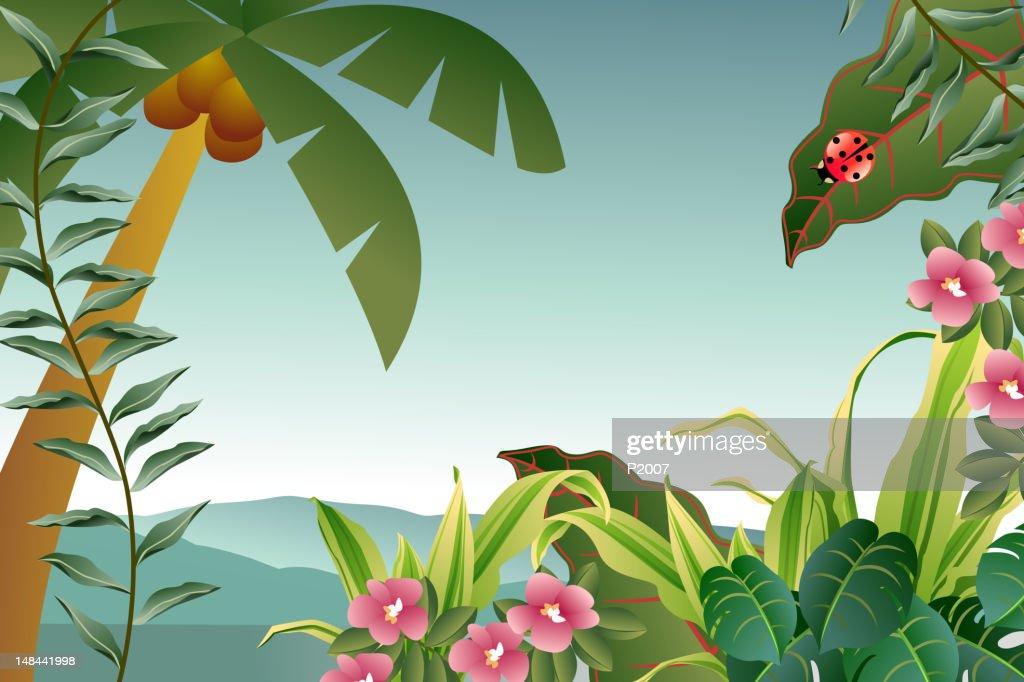 Tropical Plants Background : stock illustration
