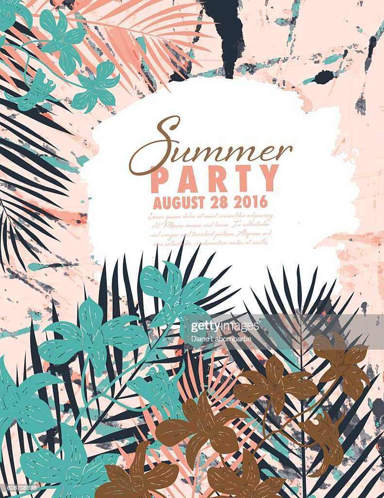 Tropical Plants Summer Party Invitation template