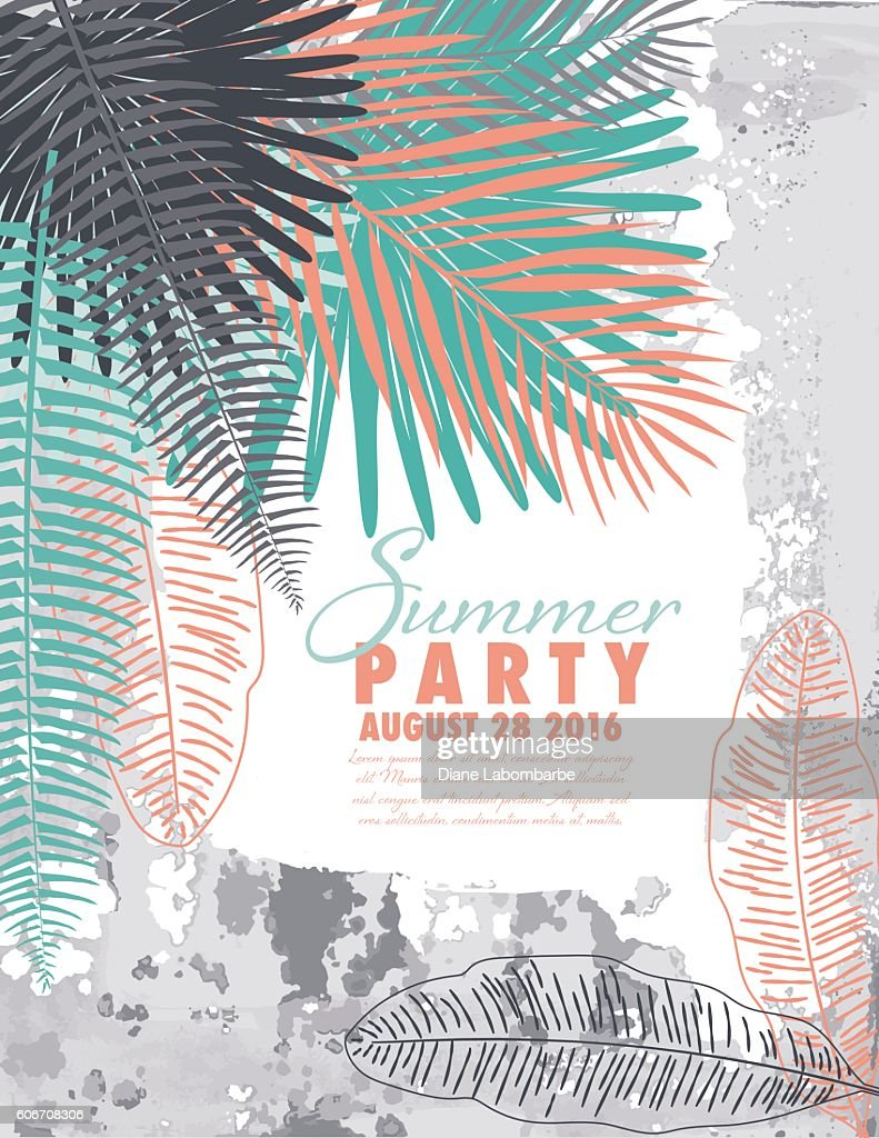 tropical plants summer party invitation template vector art getty