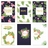 Tropical printable set. Vector cards, notes and banners with Flamingo