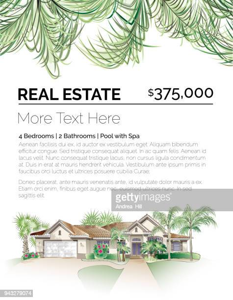 tropical real estate design template with southern-style house, palm trees and lush foliage - palmetto florida stock illustrations
