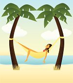 Girl In Swimsuit Hammock With Palm Tropical Relaxation