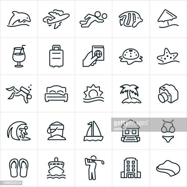 tropical resort icons - scuba diving stock illustrations