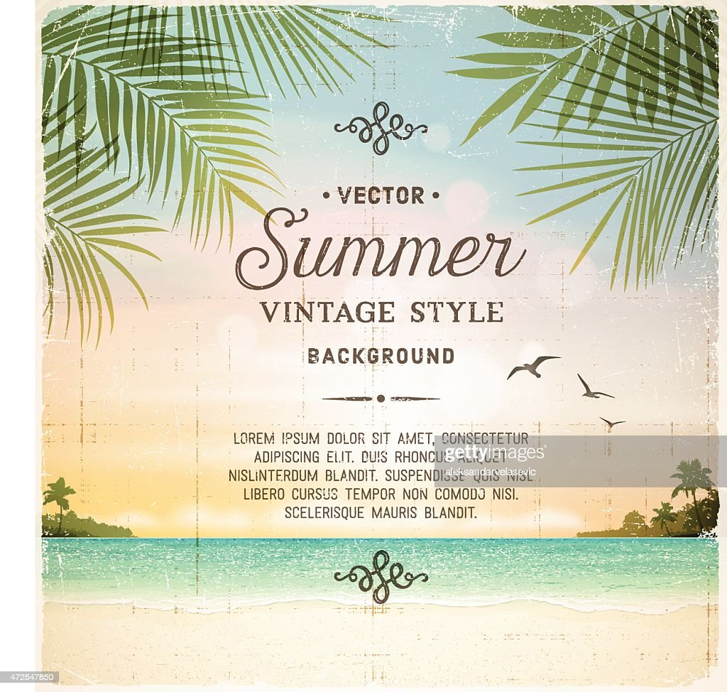 Tropical Retro Beach Summer Background High-Res Vector ...