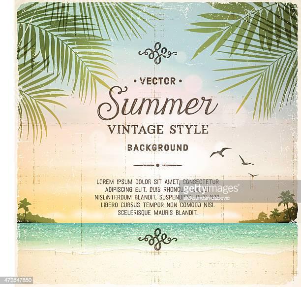 illustrations, cliparts, dessins animés et icônes de rétro fond d'été plage tropicale - feuille de palmier