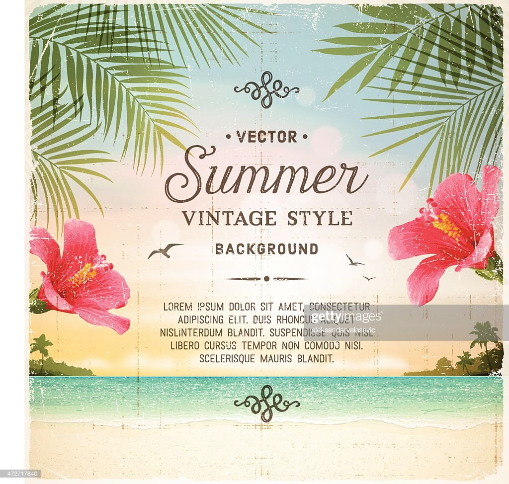 Tropical Retro Beach Summer Background