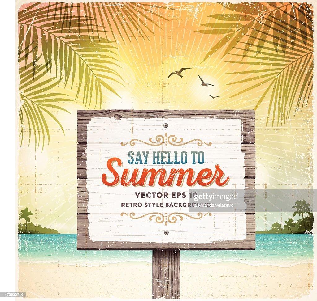 Tropical Retro Beach Summer Wooden Sign Background