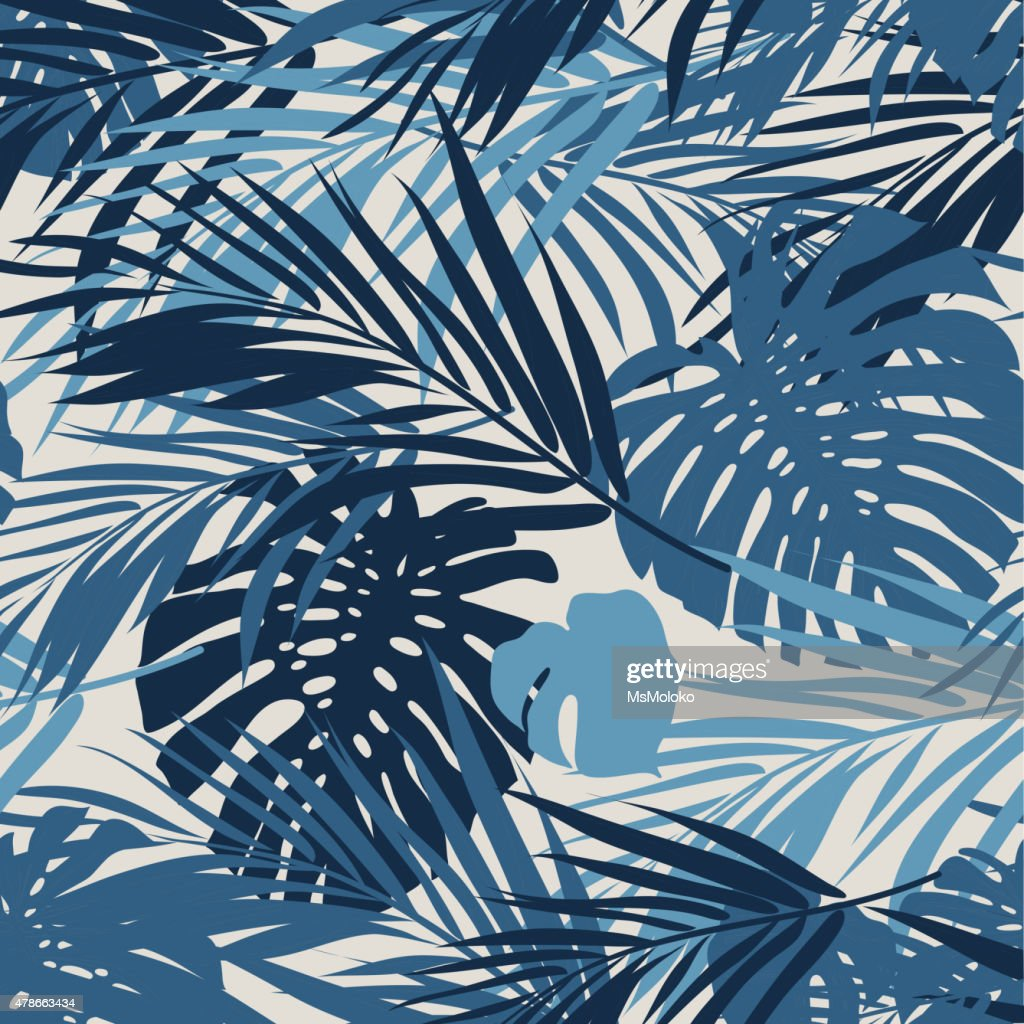 Tropical seamless monochrome blue indigo camouflage background with leaves and
