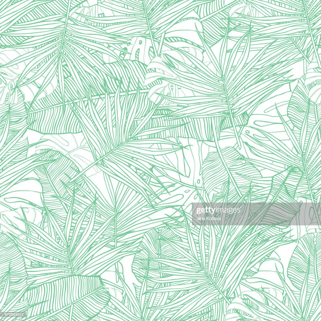 Tropical seamless pattern. Texture with banana leaves, palm and  monstera. Hand drawn illustration. Summer vector design.