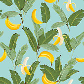 Tropical Seamless Pattern with Bananas and Palm Leaves. Summer Floral Background for Wallpaper, Fabric, Wrapping Paper. Vector illustration