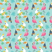 Tropical Seamless pattern with exotic birds