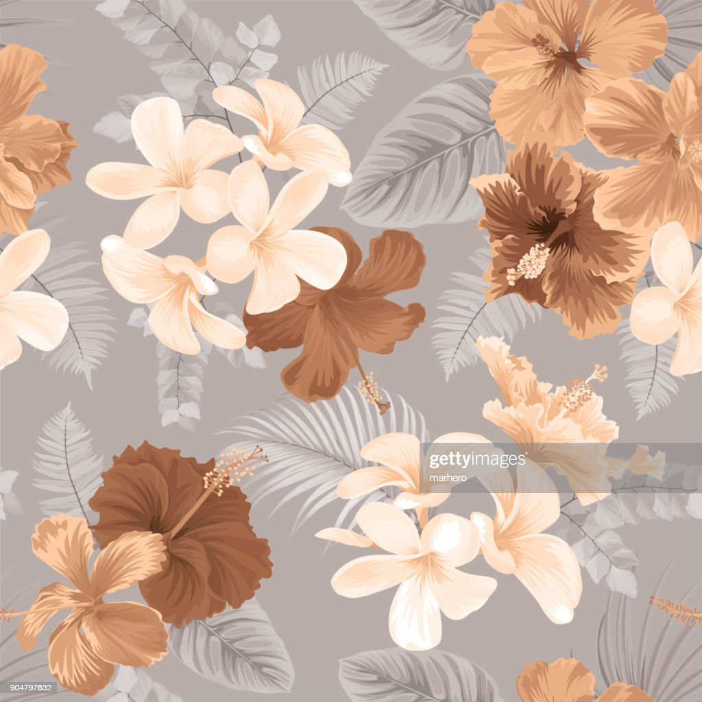 Tropical seamless pattern with hibiscus flower and leaf on earth tone color background.