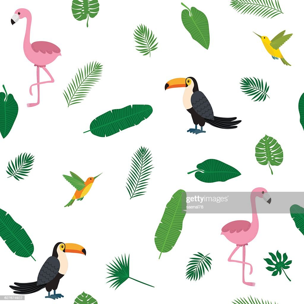 Tropical seamless pattern with pink flamingos, toucans