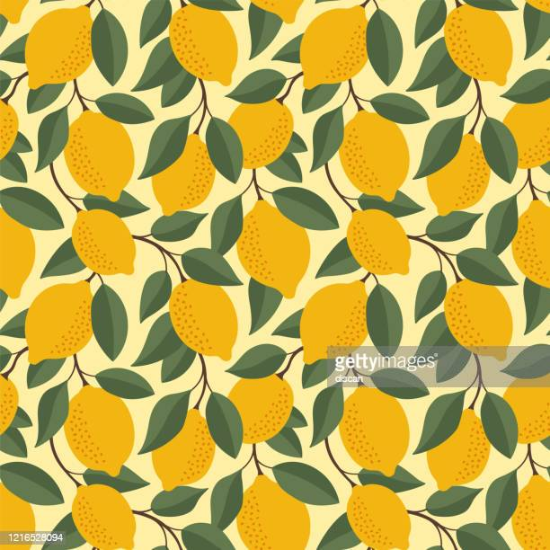 tropical seamless pattern with yellow lemons. fruit repeated background. vector bright print for fabric or wallpaper. - lemonade stock illustrations
