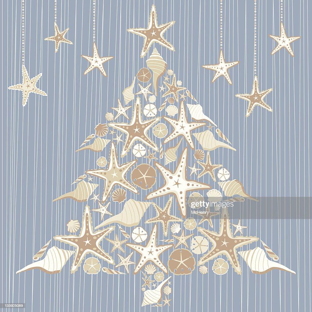 Tropical Seashell Christmas Tree Card
