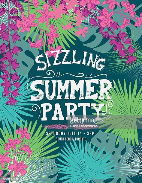 illustrations, cliparts, dessins animés et icônes de tropical sizzling summer party invitation template - fleur tropicale