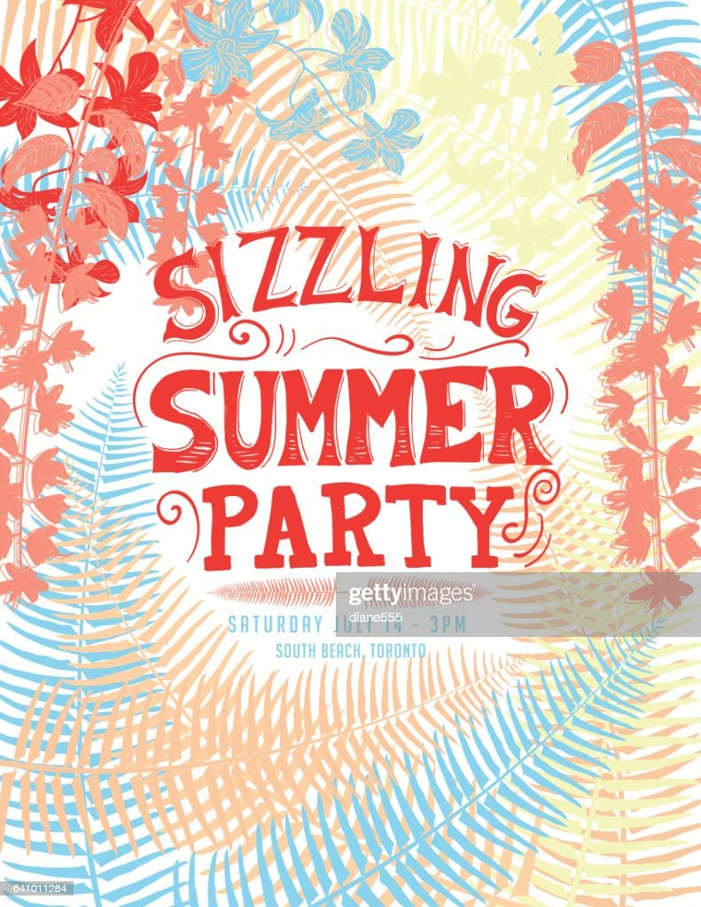 Tropical Sizzling Summer Party Invitation Template Vector Art ...
