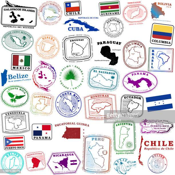 tropical spanish speaking travel stamps and a few others - argentina stock illustrations