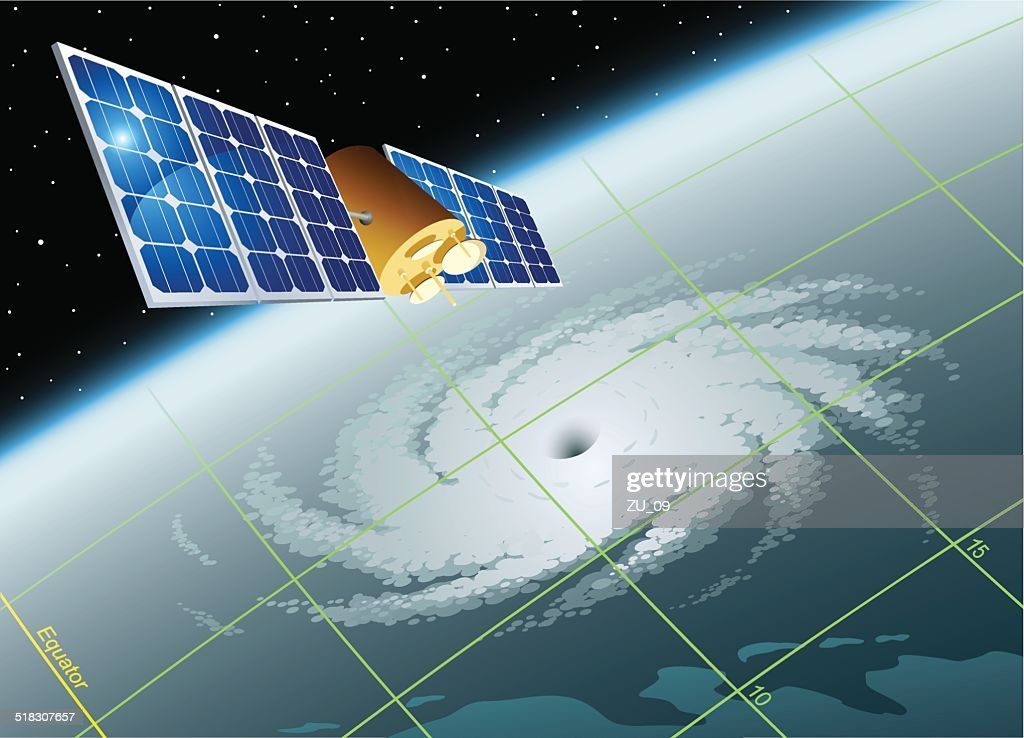 Tropical storm. Satellite view on the earth, visual coordinate grid : stock illustration