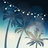 Tropical summer party or Festa Junina greeting card, invitation. Silhouette of palm trees again the evening sky illuminated by light bulbs. Garden party decoration. Holiday concept. Vector background