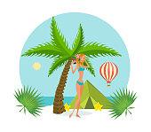 Tropical summer rest. Girl in bikini, resting on tropical island