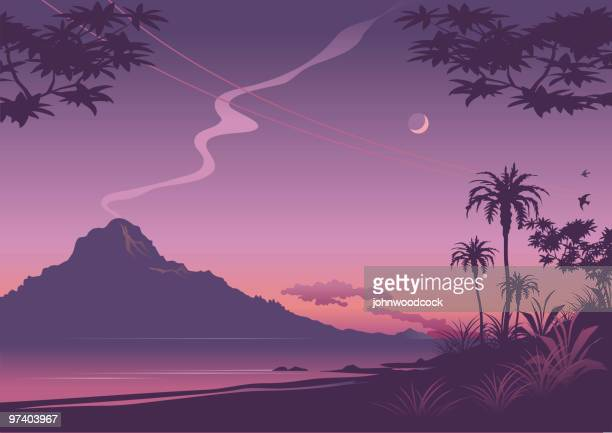 tropical sunset illustration in shades of purple - volcano stock illustrations, clip art, cartoons, & icons