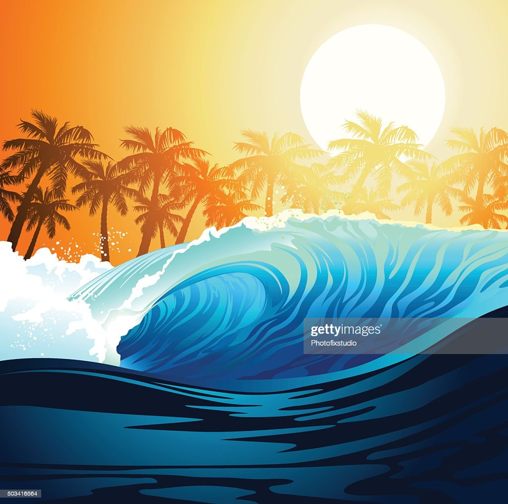 Tropical surfing wave at sunrise with palm trees