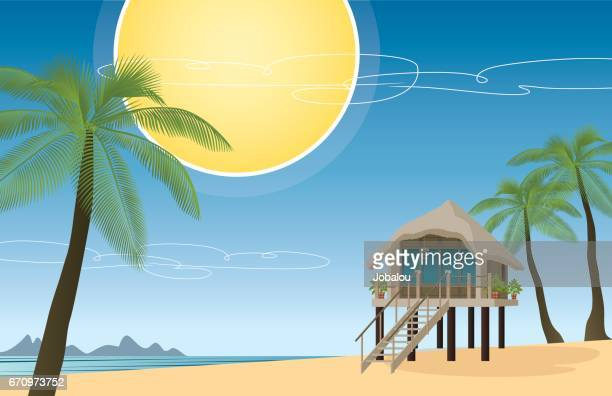 tropical travel accomodation - french overseas territory stock illustrations