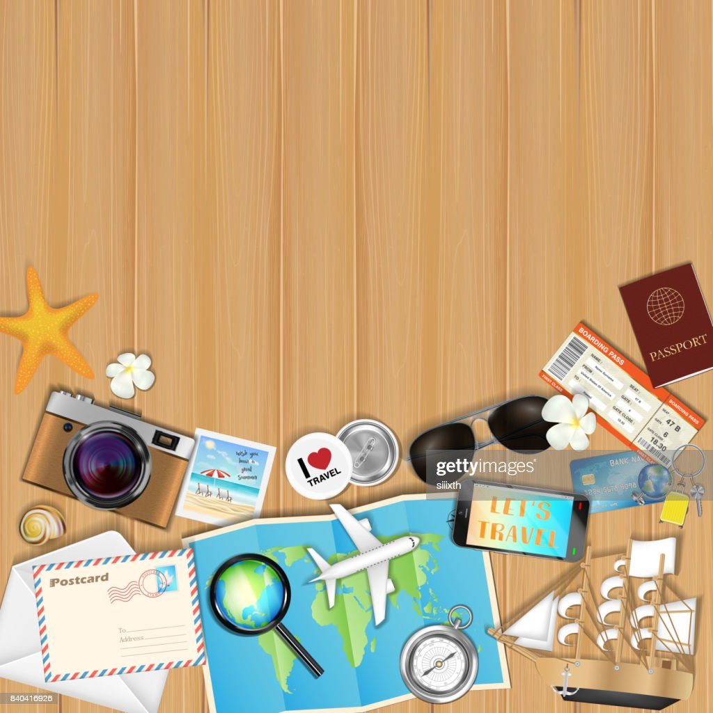 tropical travel object set on wood board background