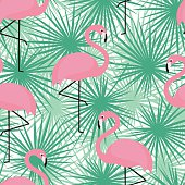 Tropical trendy seamless pattern with flamingos and palm leaves.