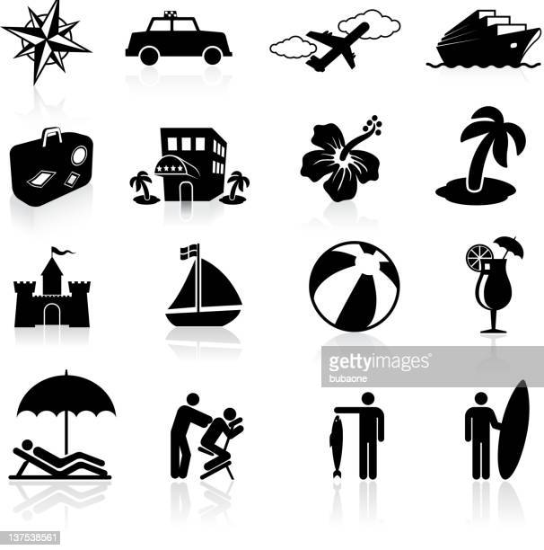 tropical vacation black and white royalty free vector icon set