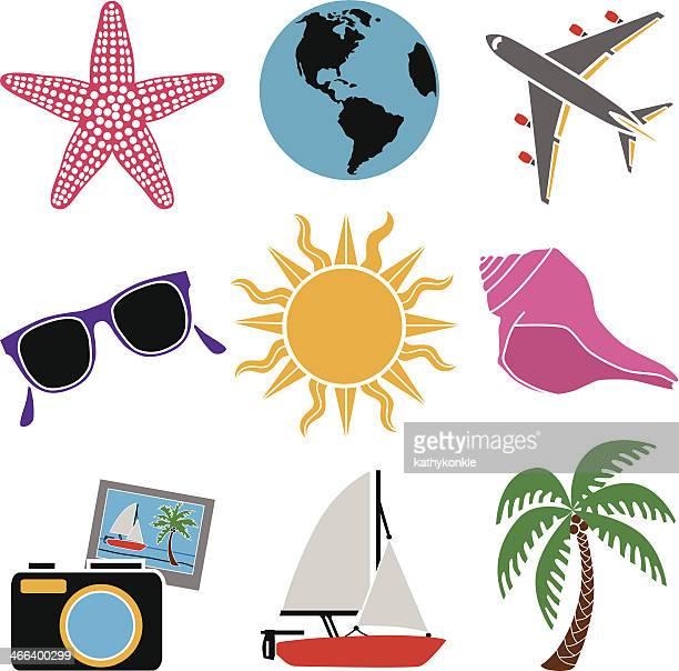 Tropischer Urlaub icon-set in Farbe