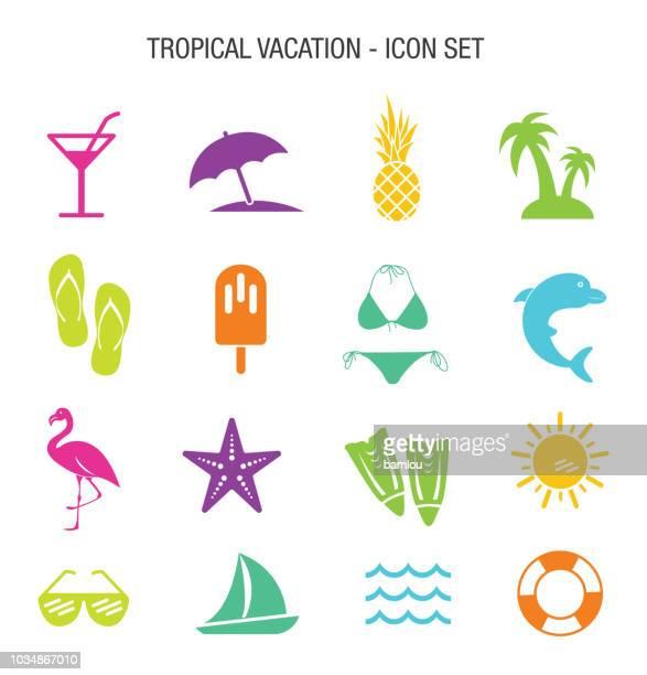 ilustrações, clipart, desenhos animados e ícones de conjunto de ícones de férias tropicais - comida congelada