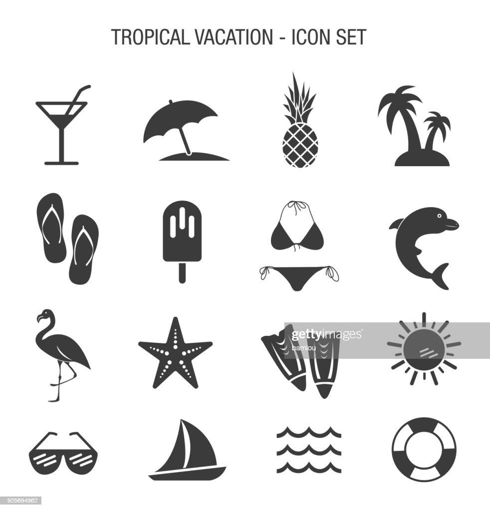 Tropical Vacation Icon Set : stock illustration