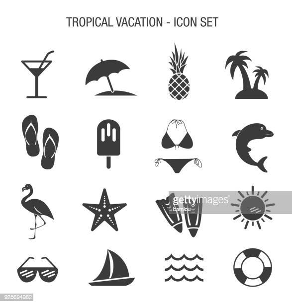 tropical vacation icon set - beach stock illustrations