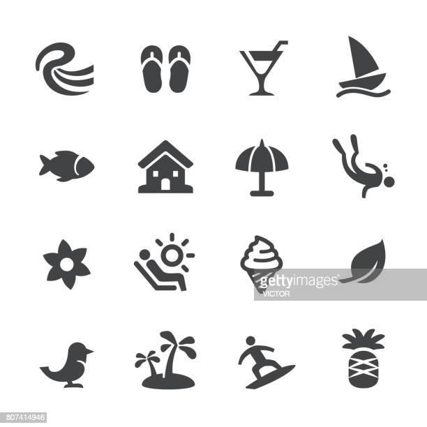illustrations, cliparts, dessins animés et icônes de icônes de vacances tropicales - acme série - bain de soleil