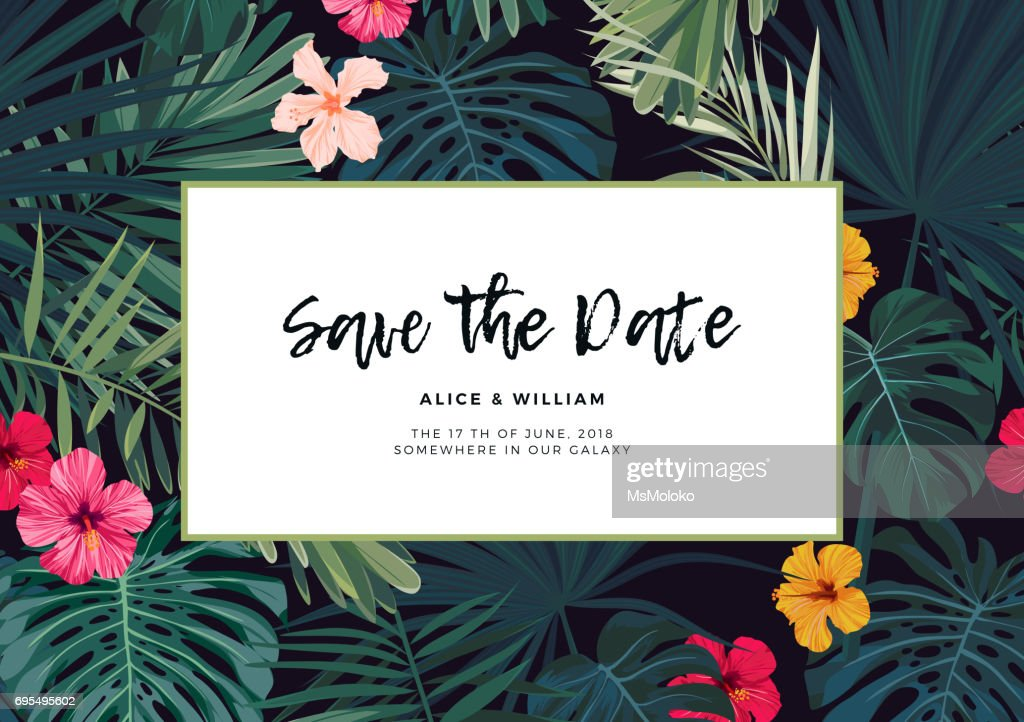 Tropical vector wedding invitation design with hibiscus flowers and exotic palm leaves on dark background