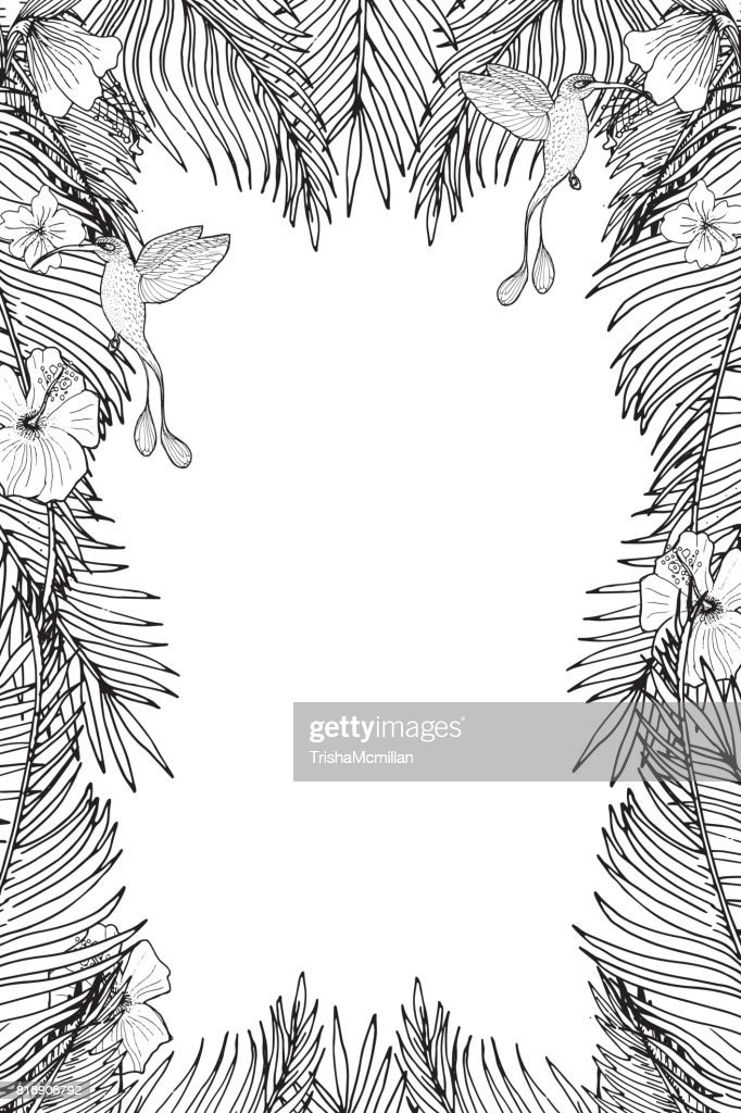 tropical vertical template with palm leaves and tropical flowers