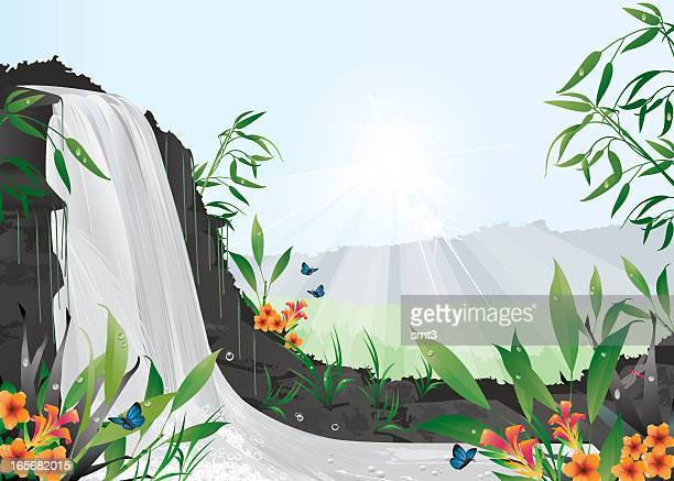 tropical waterfall - waterfall stock illustrations, clip art, cartoons, & icons